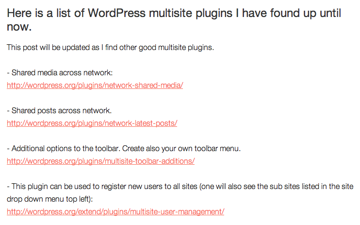 WordPress Multisite Plugins