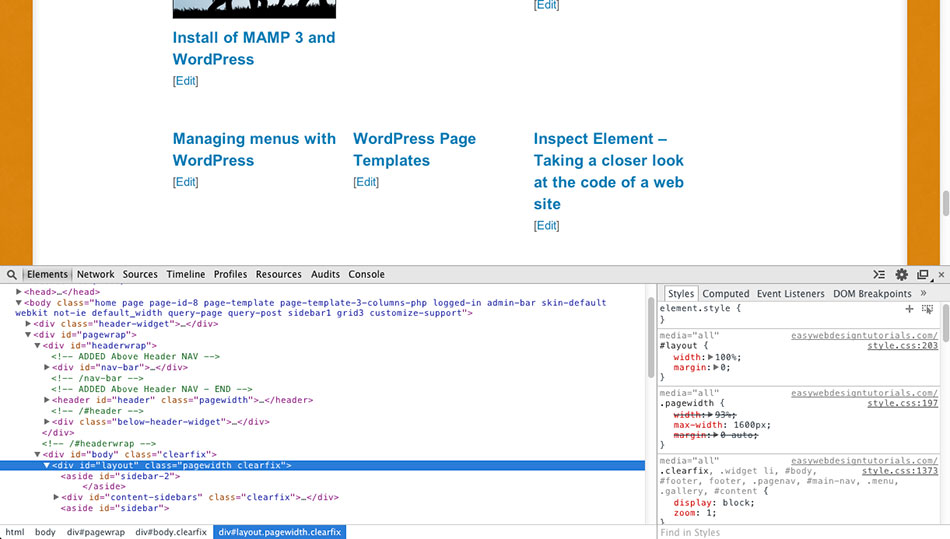 Inspect Element – Taking a closer look at the code of a web site