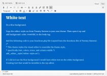 Changing the WP editor area through CSS