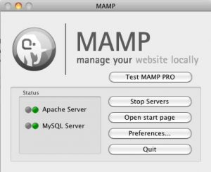 MAMP 2 start up screen