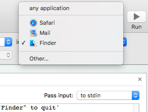 Automator dropdown - select Finder