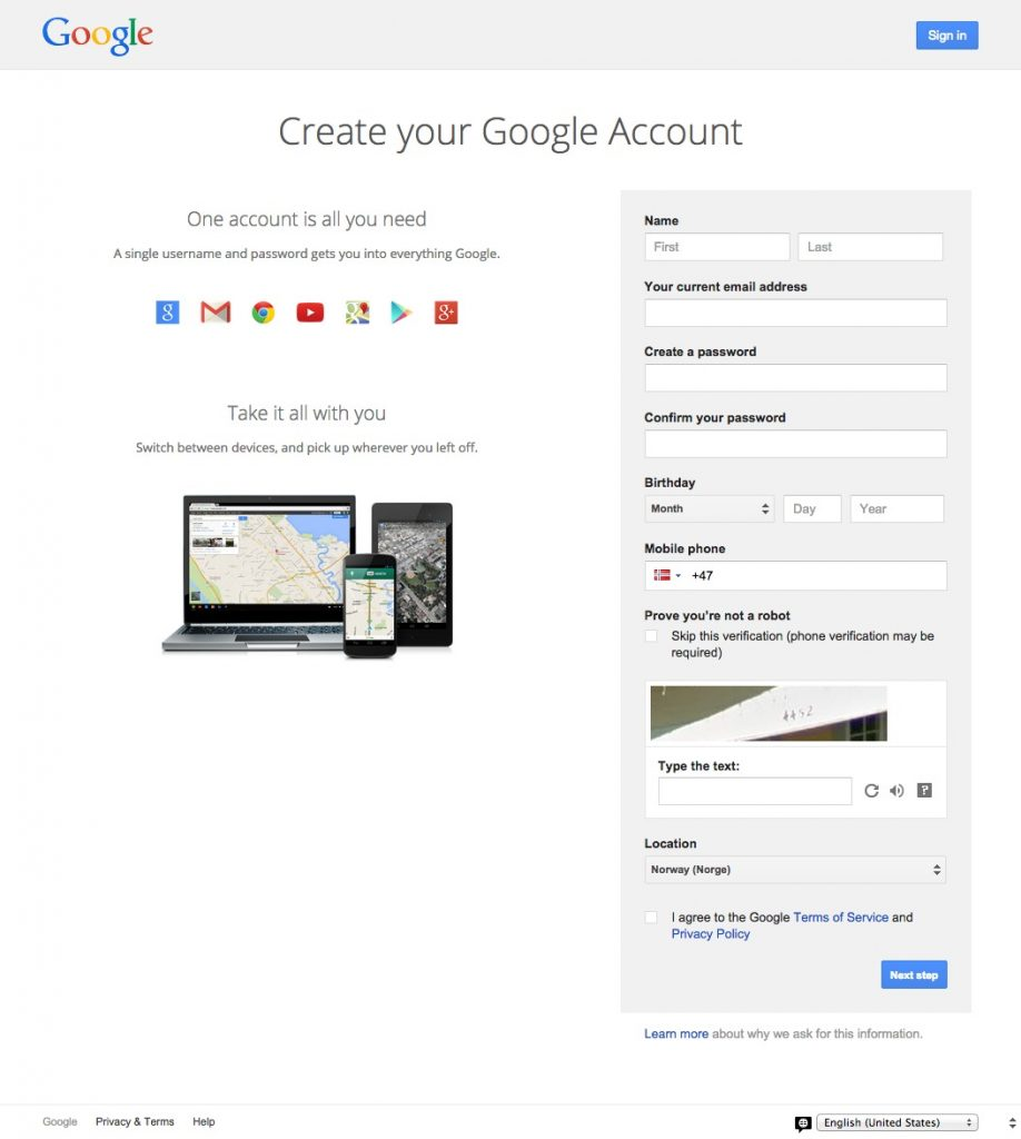 Create your Google Account