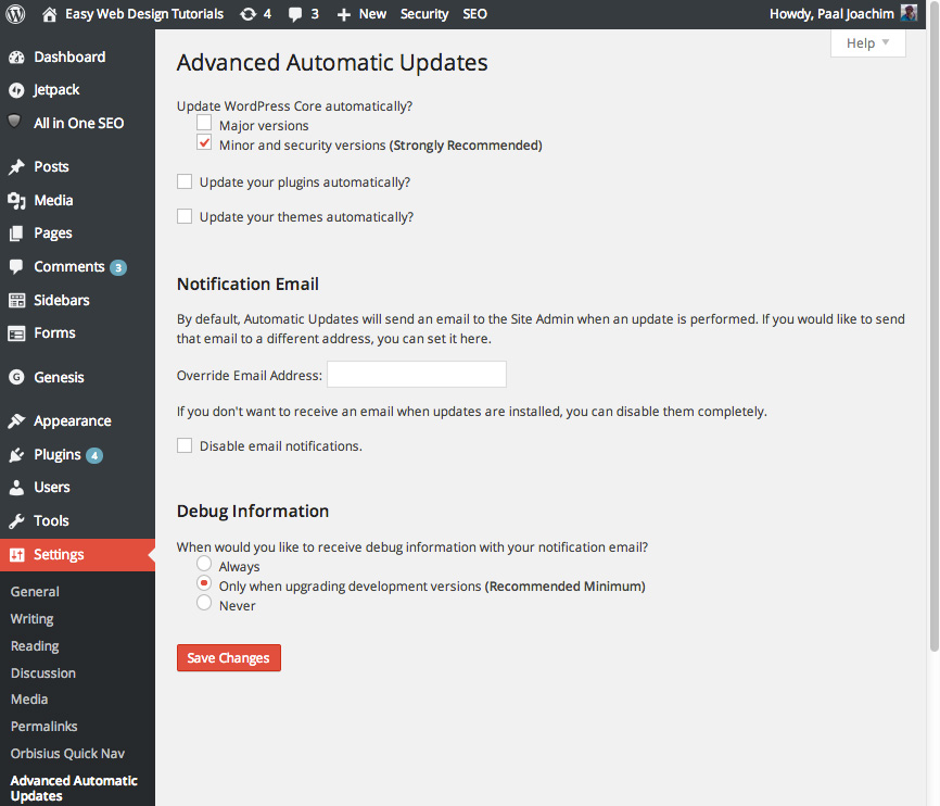 Advanced Automatic Updates WordPress plugin