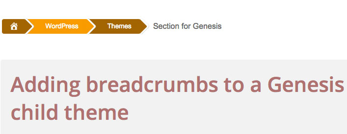 Adding breadcrumbs to a Genesis child theme