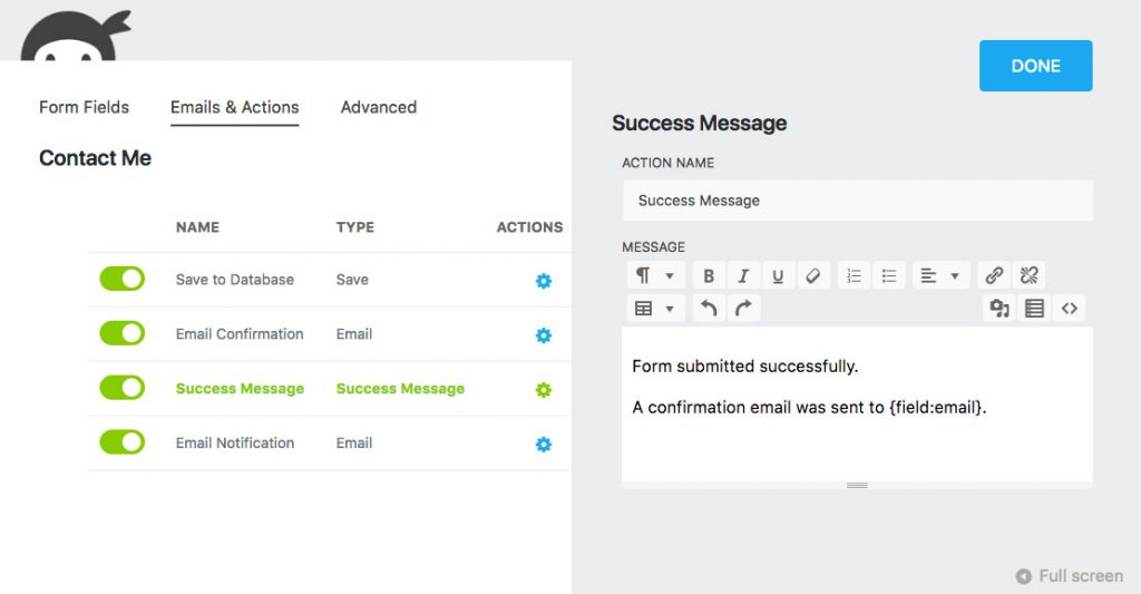Email Actions Success Message Ninja Forms 3