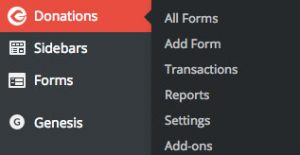 Give Donation WordPress plugin sidebar options