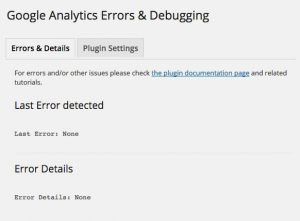 Google Analytics Dashboard WP Error and Details