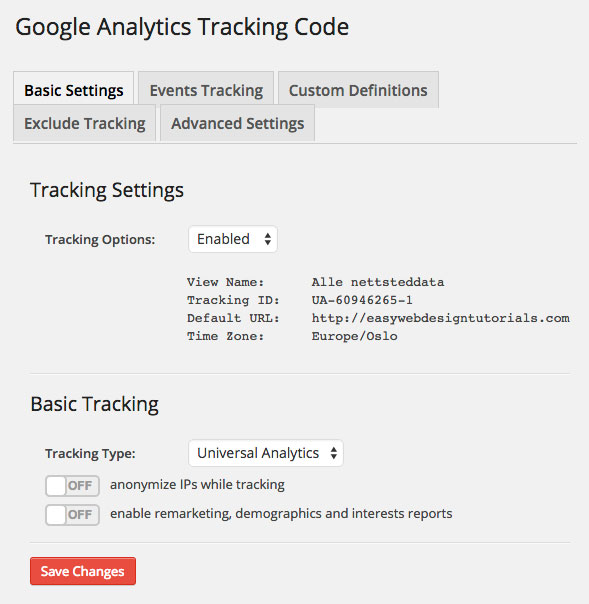 Google Analytics Dashboard WP Tracking Code Basic Settings