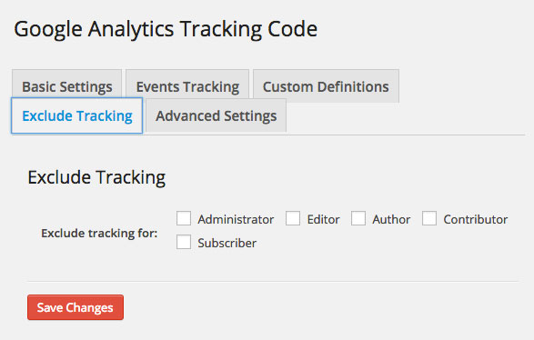 Google Analytics Dashboard WP Tracking Code Exlude Tracking