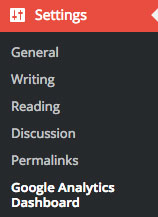 Google Analytics Dashboard sidebar settings