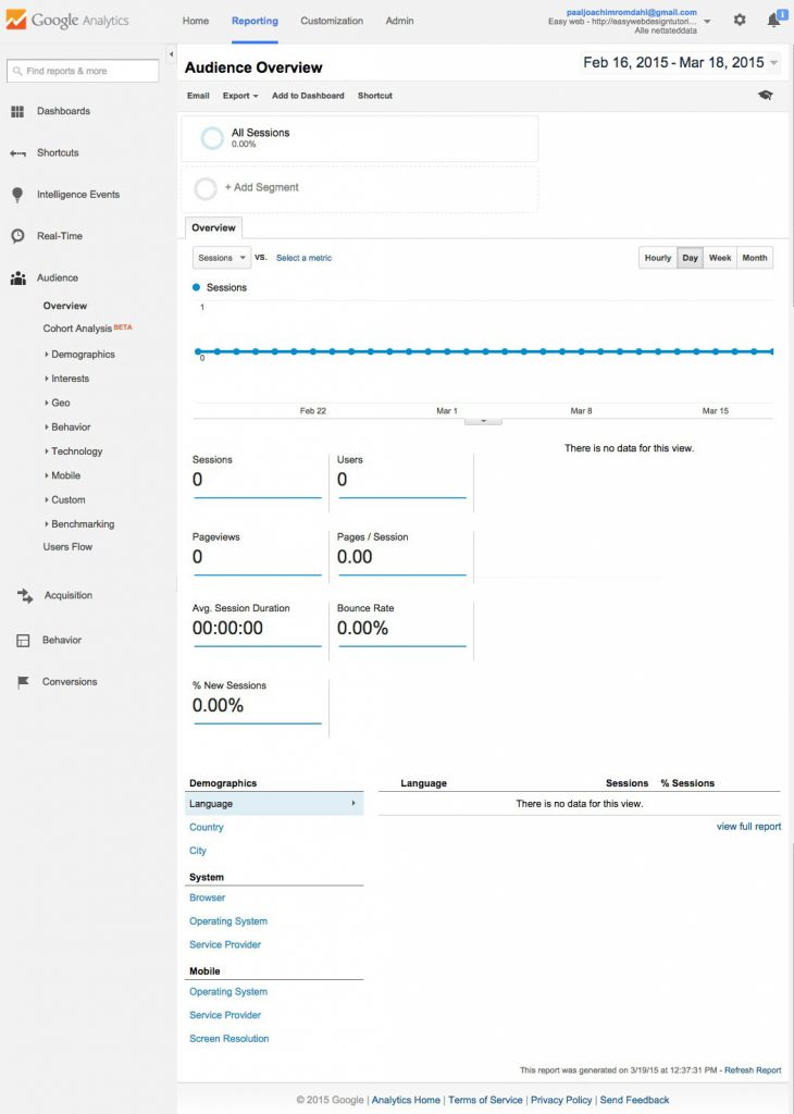 Google Analytics Reporting screen