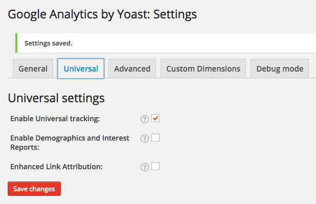 Google Analytics by Yoast Settings Universal
