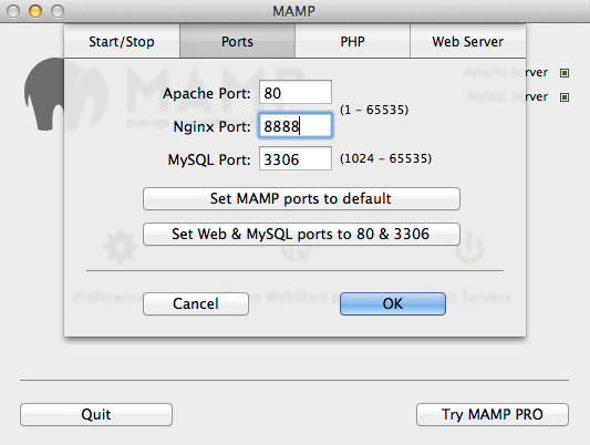 MAMP change port numbers
