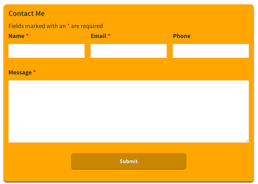 Styled - customized Ninja Forms contact form