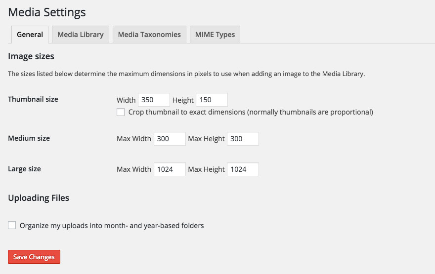 Settings -> Media changing thumbnail sizes in WordPress