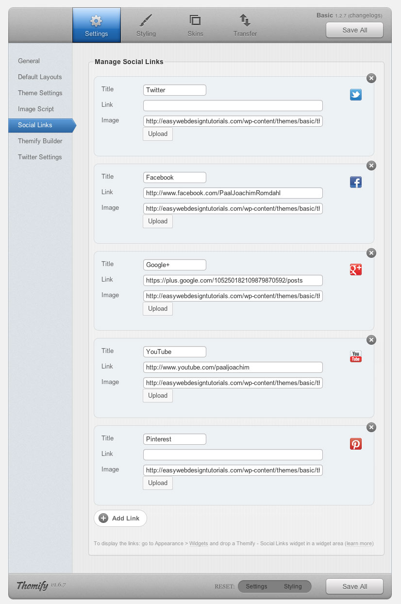 Themify Framework Settings Social Links