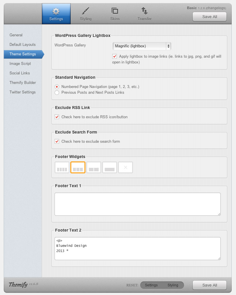 Themify Frameworks Settings - Theme Settings