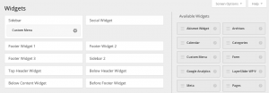 WordPress widgets wireframe