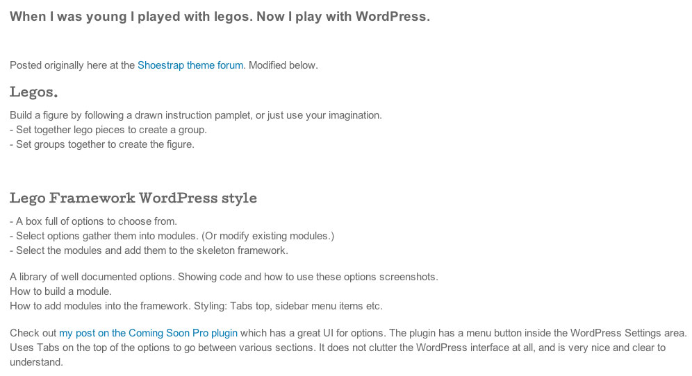 WordPress and legos