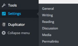 WordPress Settings links