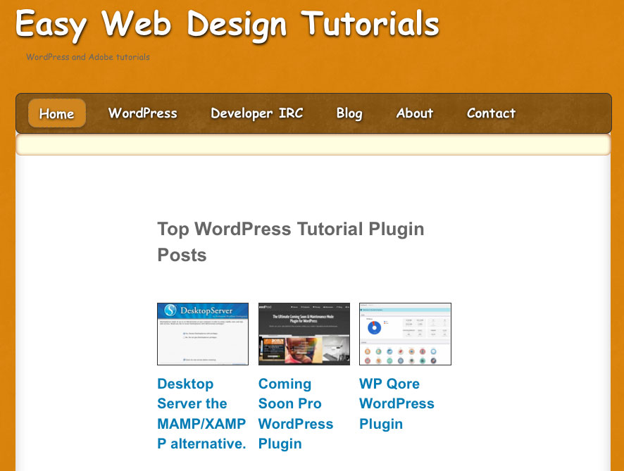 easy web design tutorials home page view